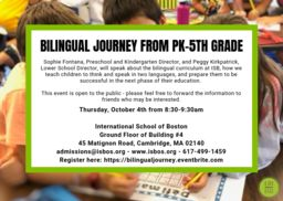 Bilingual Journey - Thursday, October 4th from 8:30-9:30am