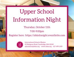 Upper School Information Night - Thursday, October 11th